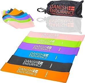 6 o 3 pacchi di Bande elastiche Resistance Loop di DANISH ENDURANCE, ideali per esercizio fisico, allenamento, palestra, fisioterapia, yoga, pilates e stretching a casa, a lavoro o in viaggio