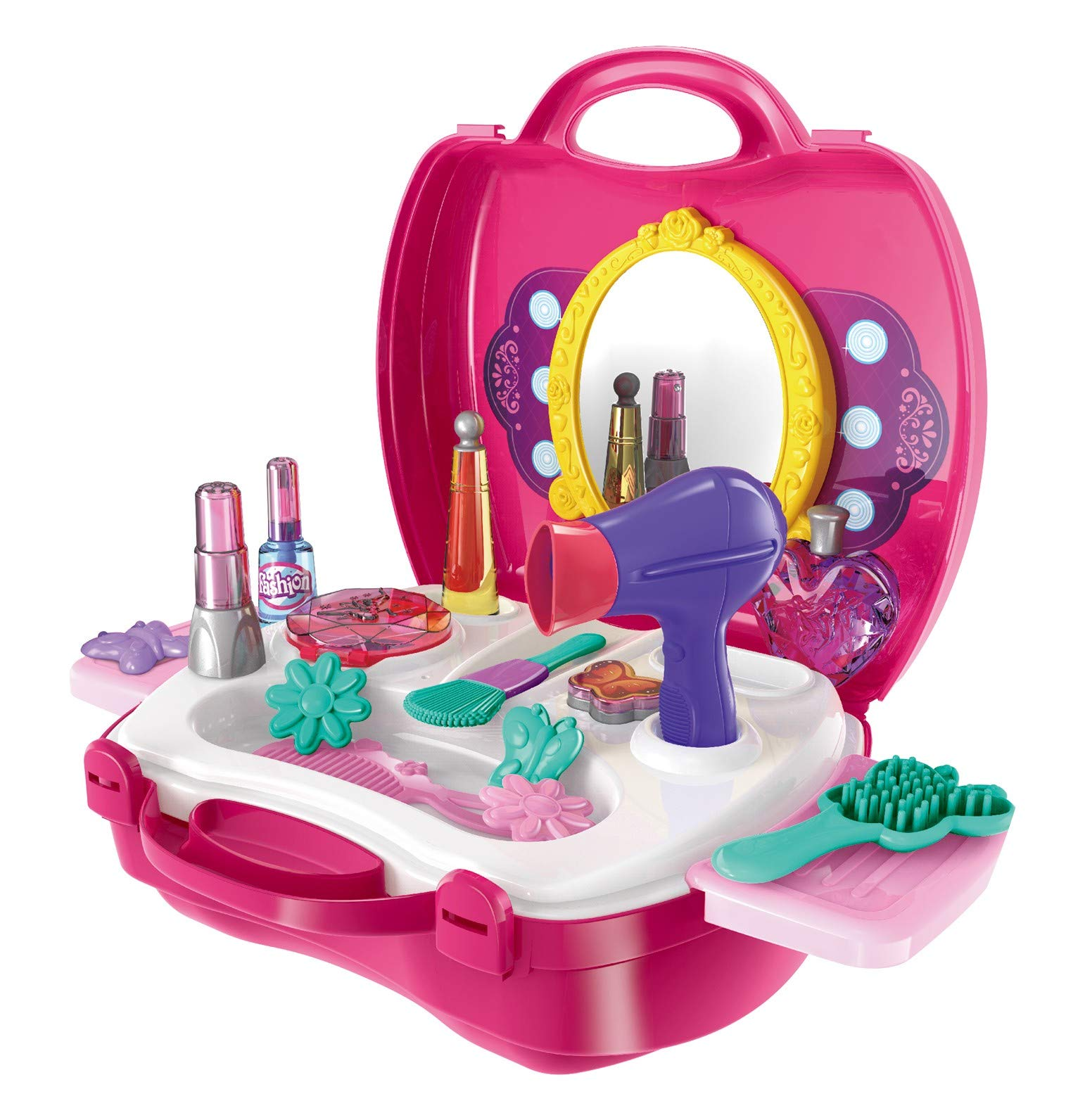 Make Up Case Little Girls Cosmetic Set - Pretend Play Accessories For Toddler Kids, Beauty Salon, 21 Pieces Makeup And Cosmetic Vanity Case, Durable Dress-Up Beauty Kit Hair Salon Playset For Girls,