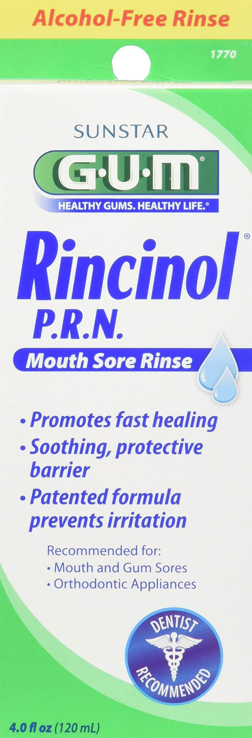 GUM Rincinol P.R.N. Mouth Sore Rinse - 4 fl oz, Pack of 4 by Gum