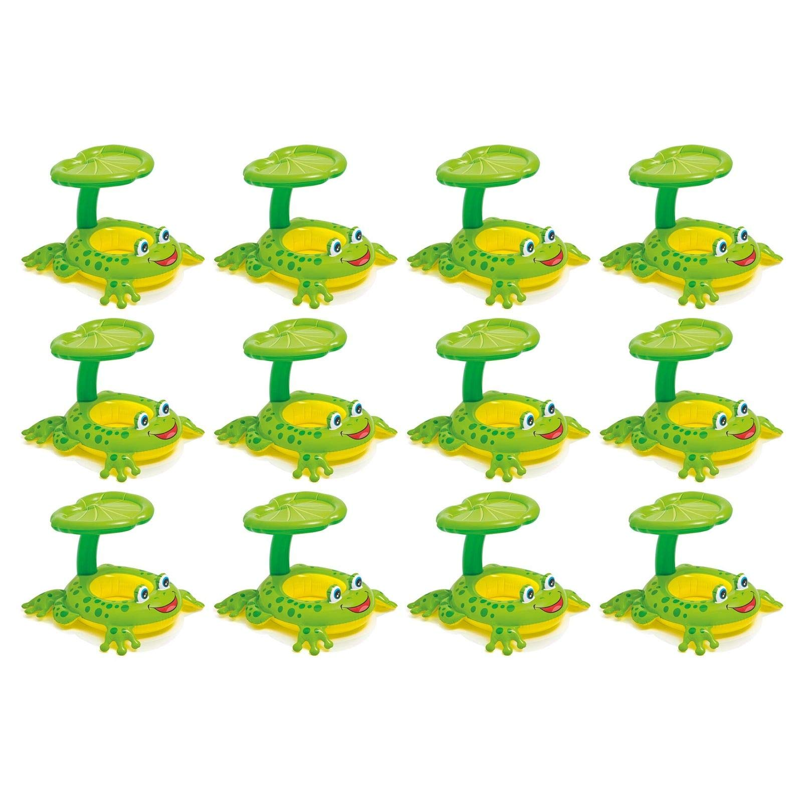 MRT SUPPLY Froggy Friend Shade Canopy Baby Kiddie Floating Raft (12 Pack) with Ebook
