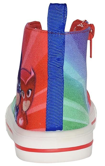 P J Masks Multi coloured Hi-Top Canvas Trainers Sports Shoes Sizes 6-11.5 Child