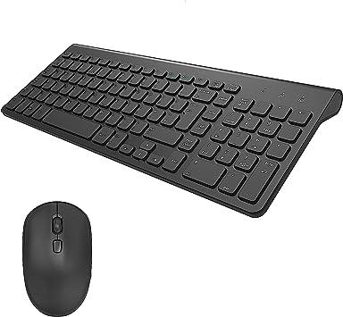 TedGem - Teclado y ratón inalámbricos 2,4 G, teclado ergonómico inalámbrico con ratón 2 en 1, USB nano, para ordenadores de sobremesa, ordenadores ...