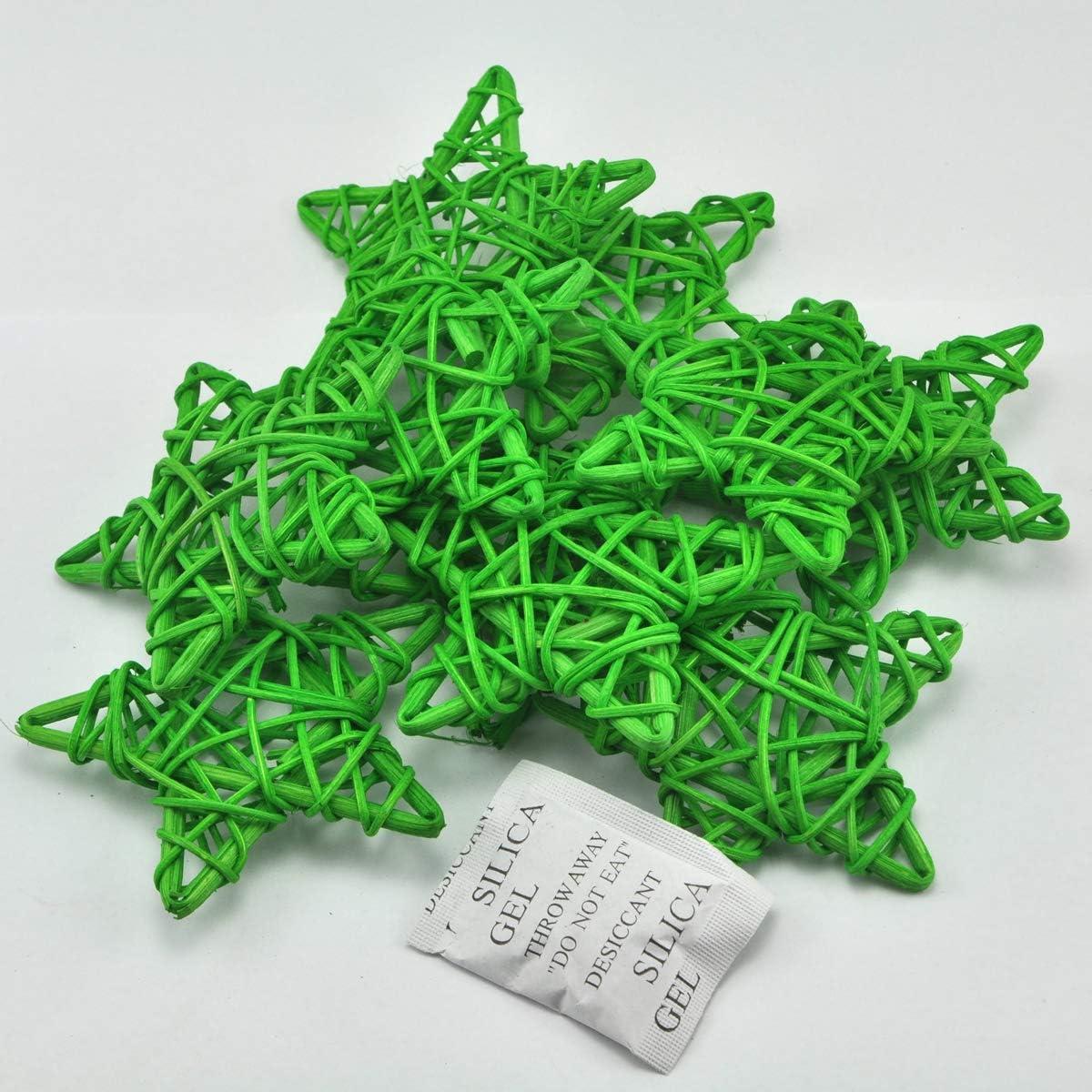 LTD. Ougual 6PCS 6 Natural Color Wicker Rattan Vine Stars for Home Garden Wreath Tree Decoration ShenZhen Aigua Technology Co