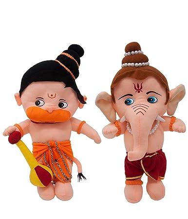 Mtc Lord Baal Hanuman and Ganesha Hindu Idol Combo Soft Plush Toy 34 cm