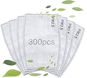 Activated Carbon Filters 5 Layers Insert Replaceable Anti Haze Filter Paper Pad for Adults Men and Women, effective non-woven cotton filter (300 Pack)