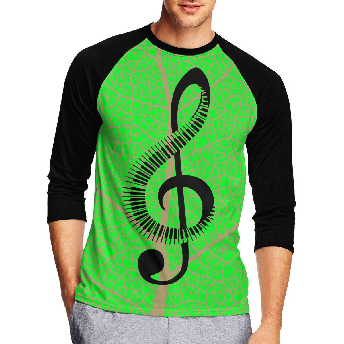 DFGHJZH-L Musical Note Piano Mens Funny Adult Long-Sleeved T Shirts
