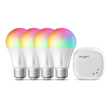 Sengled Smart LED Multicolor A19 Starter Kit, 60W Equivalent, 4 Light Bulbs & Hub, RGBW Color and Tunable White 2000-6500K, Works with Alexa & Google Assistant