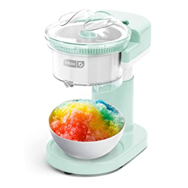 DASH DSIM100GBAQ02 Shaved Ice Maker + Slushie Machine with with Stainless Steel Blades for Snow Cone, Margarita + Frozen Cocktails, Organic, Sugar Free, Flavored Healthy Snacks for Kids & Adults, Aqua