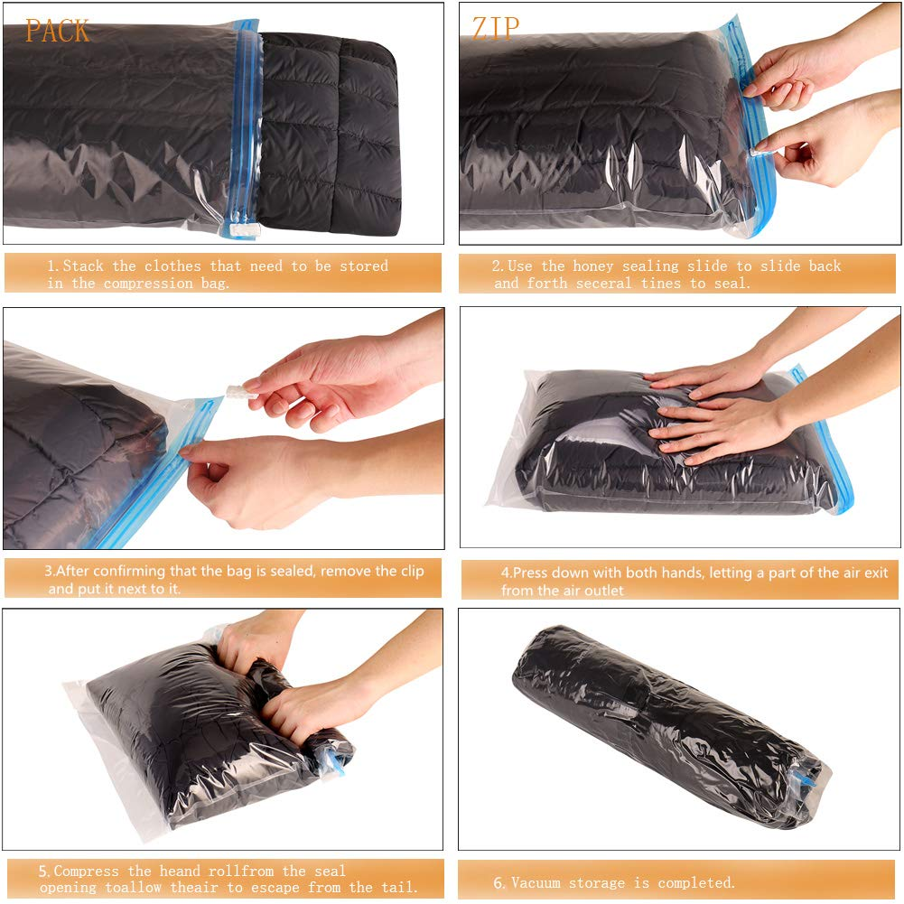 e7f8af791d6b GK- 10 Travel Storage Bags For Clothes Space Saver Packing Sacks (4 x S, 3  x M, 3 XL), reusable...