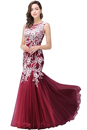 MisShow Elegant Lace Appliques Burgundy Mermaid Prom Dresses Long Evening Gowns,2