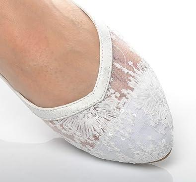 97948730d0e4 Ivory Lace Wedding Ballerina Bridal Flat Pumps: Amazon.co.uk: Shoes ...