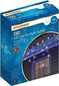 Sylvania Icicle Christmas Lights, Blue and Cool White