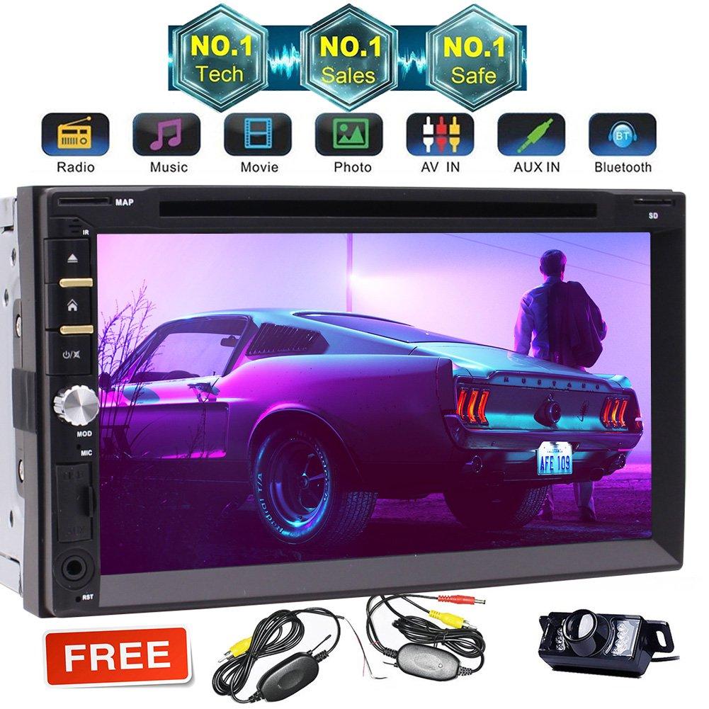 Bluetooth搭載7インチダブルディンインダッシュカーステレオレシーバー、ディスク/ MP3 / MP4プレーヤー、容量性タッチスクリーン、AM / FMラジオ、マイクとSDメモリカードリーダー、リモート+無料ワイヤレスカメラ B07BVZQXSV