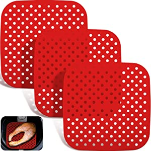 3 Pieces Air Fryer Basket Mats Non-Stick Silicone Air Fryer Mats Reusable Air Fryer Liners Air Fryer Grill Mat Air Fryer Accessories for Home Kitchen, Square (8.5 Inch)