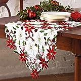OurWarm de luxe brodée de Noël chemins de table houx et Poinsettia de Noël Décorations de table Rouge et blanc 176cm x 38cm
