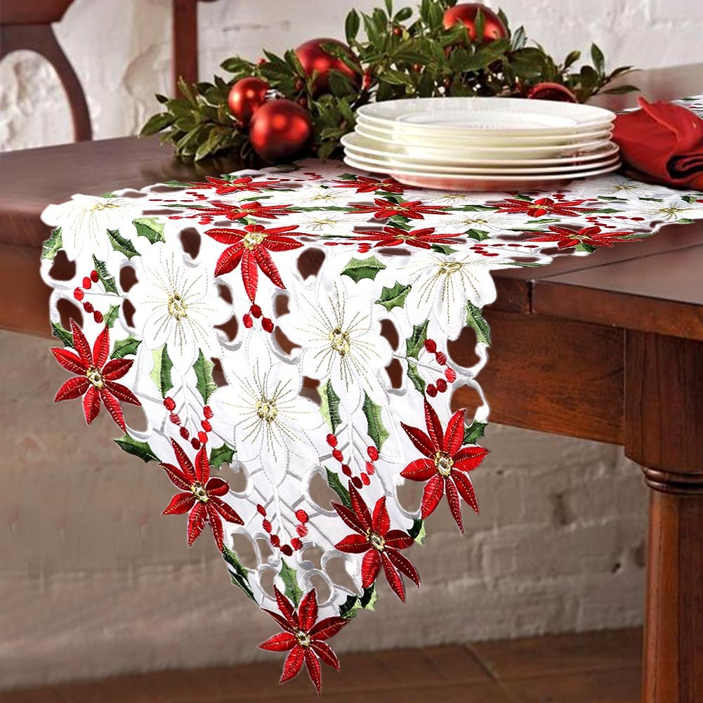 Aparty4u Christmas Table Runners Luxury Embroidered Table Runner Poinsettia and Holly Leaf Wedding Table Decoration for Xmas Decorations, 70x15inch