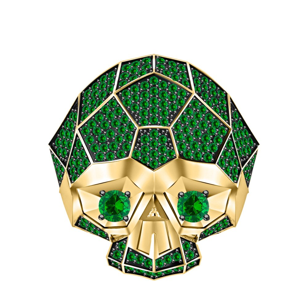 tusakha Men's & Women's 14K Yellow Gold Plated 3.50 ctw Created Emerald Half Jaw Skull Ring by tusakha