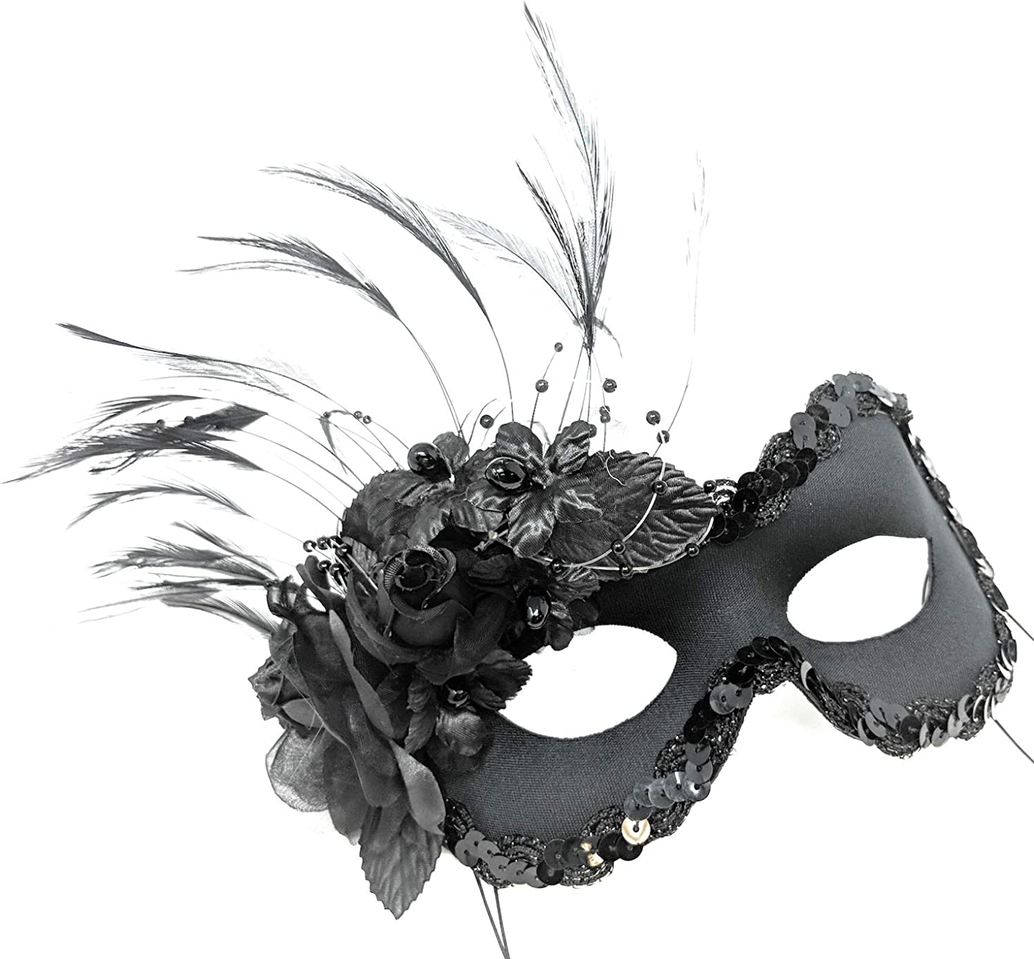 Red Eye Mask With Feathers On Stick Masquerade Fancy Dress Black Ball