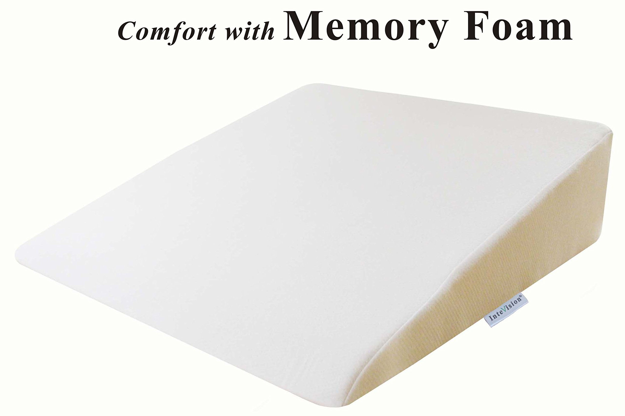 InteVision Foam Bed Wedge Pillow (26'' x 25'' x 7.5'') - 2'' Memory Foam Top Layer with Firm Base Foam & a High Quality Removable Cover - Helps Provide Relief from Acid Reflux, Snoring, Post Surgery by InteVision