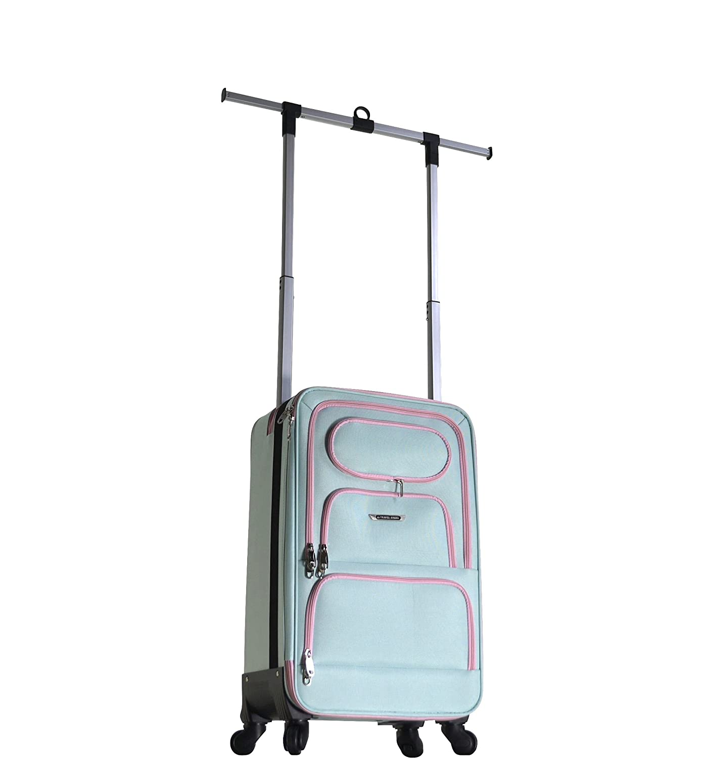 The Travel Angel Suitcase Carry-On Aqua/Pink Miami Beach 12TTACOAP