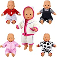 Barwa 5 Sets Jumpsuits Clothes Outfits Handmade Costume Pajamas for Baby Doll