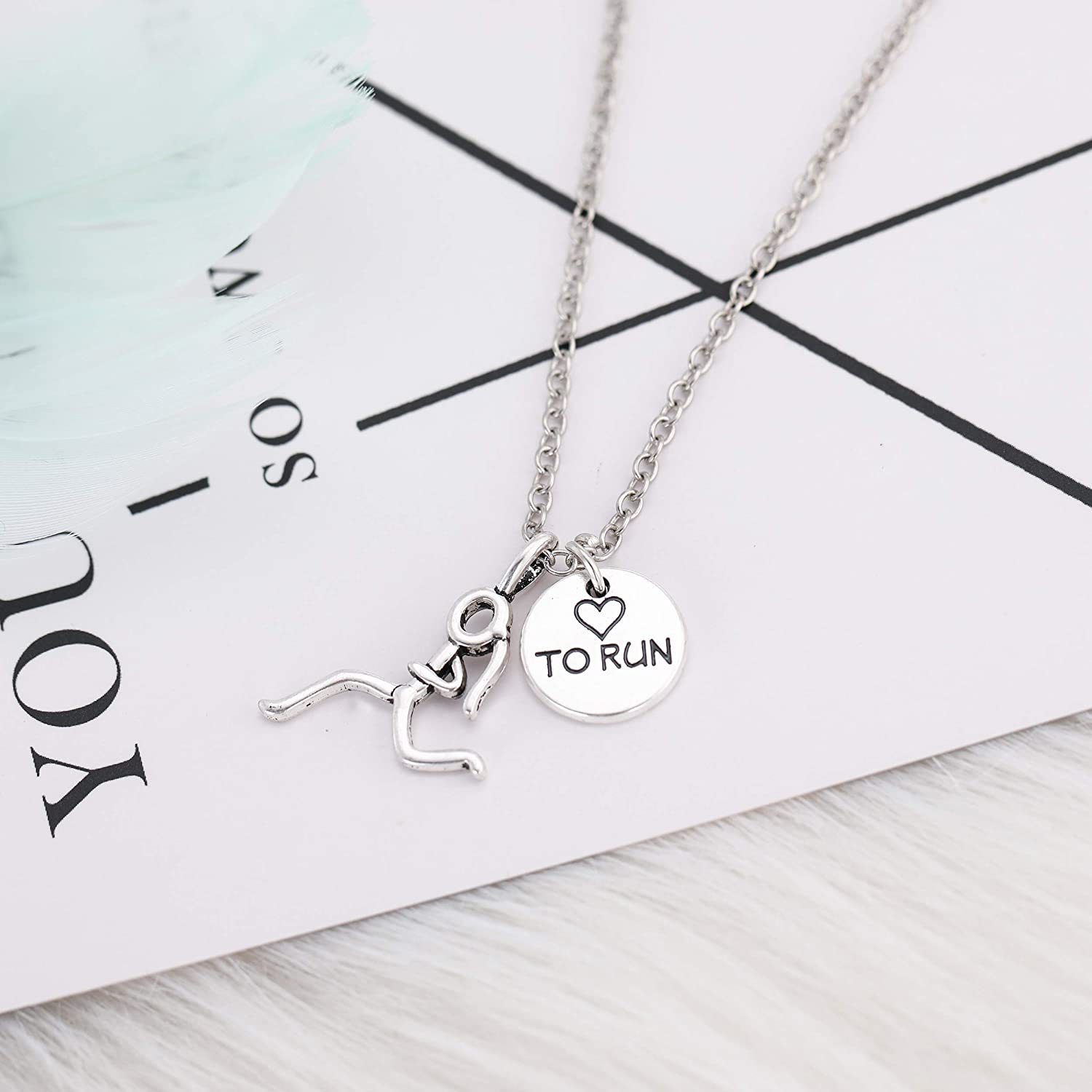 Silver Running Jewelry Pendant Gift for Marathon Runner Present Athlete Jewelry Personalized Initial Birthstone letter Love to Run Necklace