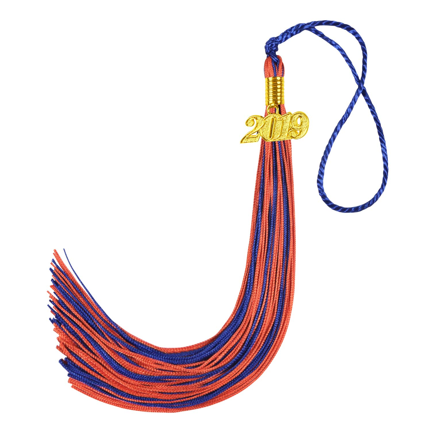 Kissbuty Uniforms Graduation Tassel with 2019 Gold Year Charm for Graduation Photography Party Double Color Graduation Cap Tassel Royal Blue and Orange