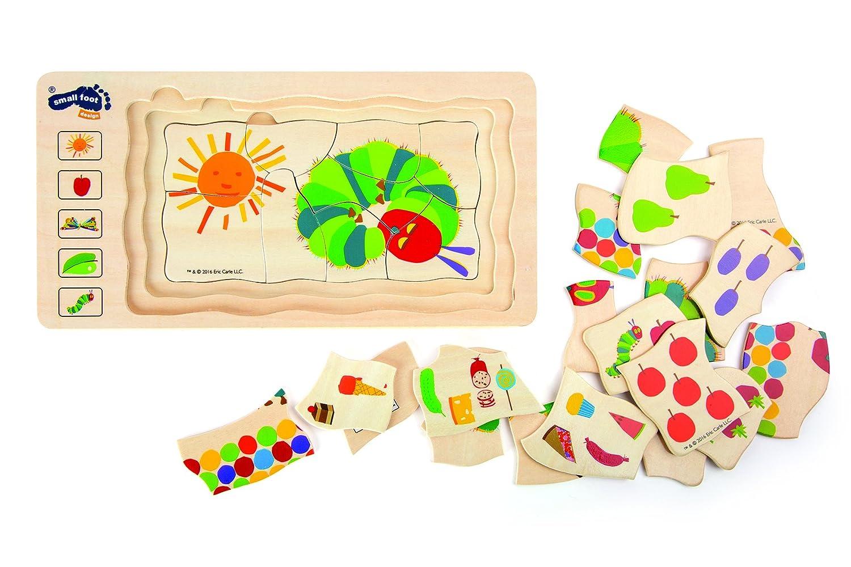 5 Schichten mit unterschiedlichen Motiven ab 3 Jahren small foot 10431 Schichtenpuzzle Raupe Nimmersatt aus Holz