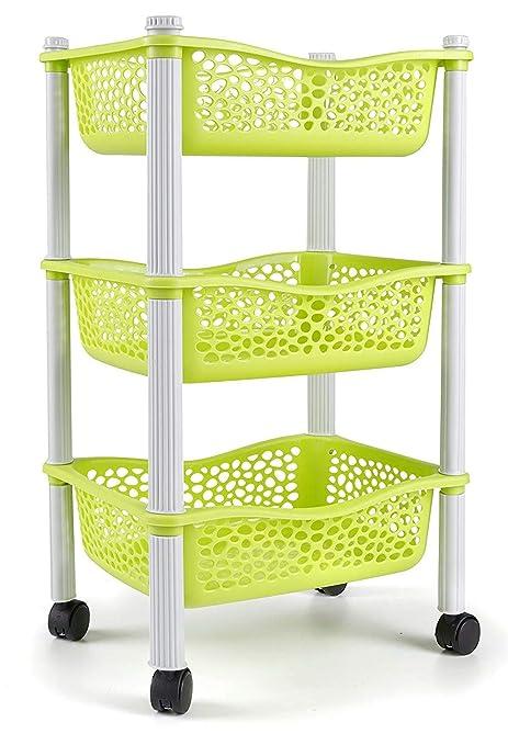 Carrellita almacenadora para cocina con canastas y ruedas Estante para frutas y vegetales - Plastico de