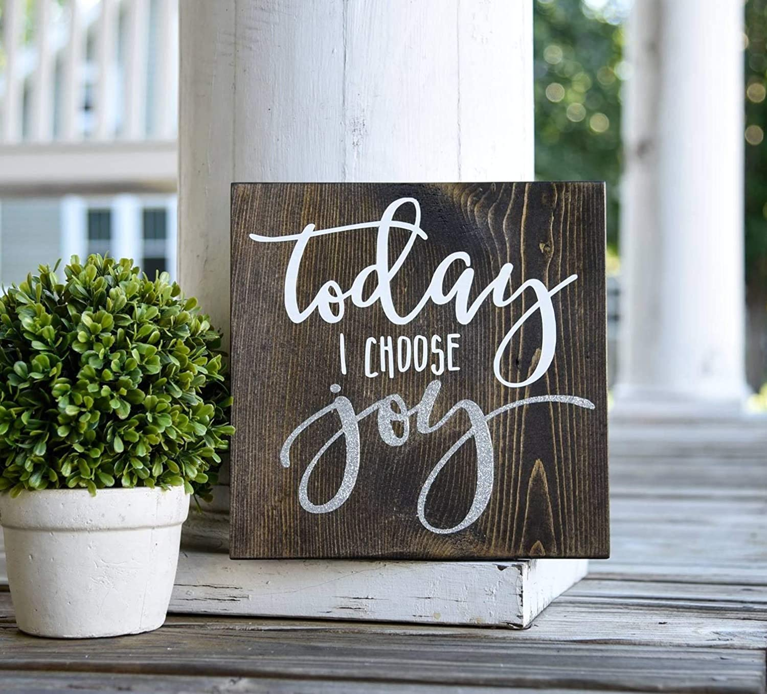 Today I Choose Joy Vintage Wood Sign Rustic Wooden Signs Wood Block Plaque Wall Decor Art Farmhouse Home Decoration Gift - 12x12 inches