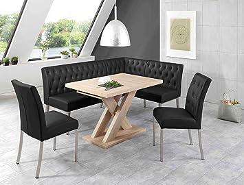 Eckbankgruppe Milan Eiche Sonoma Schwarz Eckbank 2x Stuhl Säulentisch Esstisch  Tisch Sitzgruppe Bankgruppe Esszimmer