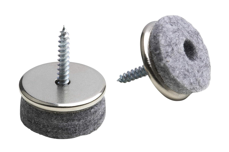 SBS Filzgleiter 28mm 100 Stück aus Metall mit Schraube Möbelgleiter Bit gratis