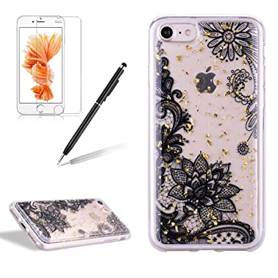Girlyard iPhone 7 Plus Case with Screen Protector, iPhone 8 Plus Case Clear with Design Cute Animal Flowers Pattern Slim Shockproof Soft Flexible TPU Back Cover for iPhone 8/7 Plus-Black Lace: Electronics