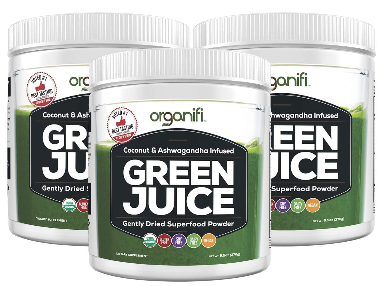 Organifi: Green Juice - Organic Superfood Supplement Powder - 30 Day Supply - USDA Certified Organic Vegan Greens- Hydrates and Revitalizes - Boost Immune System - Support Relaxation and Sleep - 3PK