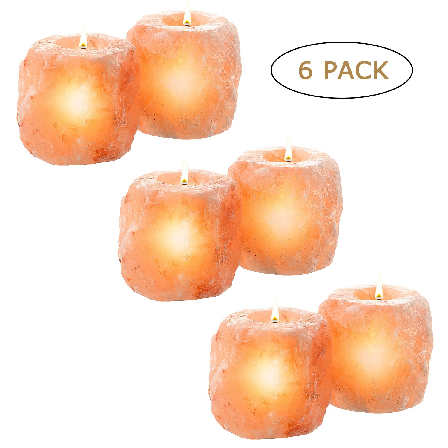 Heavy Duty 6 Pack Large (Approx 2.5lb Each) Natural Himalayan Salt Candle Holder Holders, Hand Carved Himalayan Pink Crystal Rock Tea Light Tealight Candle Holder – Perfect Fit Himalayan Salt Lamp