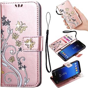LAPOSUT - Funda de Piel sintética con Tapa para Samsung Galaxy S4 (función Atril), diseño de Mariposas y Flores, Piel sintética, Oro Rosa, Samsung Galaxy S7: Amazon.es: Electrónica