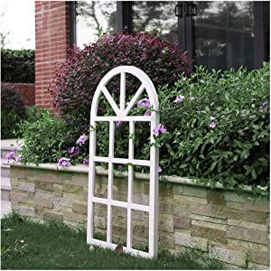 "Glitzhome Window Frame Wall décor Rustic Arch Wooden Window Pane Country Farmhouse Decorations 36""H x 20""L"