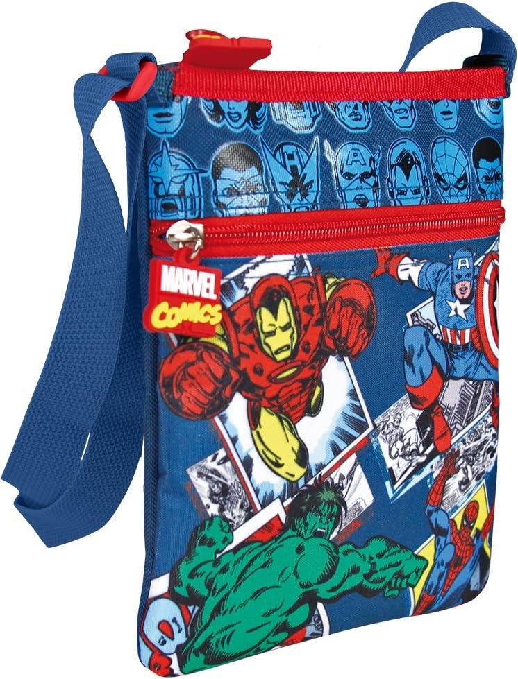 Perletti Marvel Comics Design Verstellbarer Schultergurt flach Umh/ängetasche Messenger mit Rei/ßverschluss 21 x 18 cm Blau Motiv von AVengers Iron Man Hulk Spiderman und Captain America