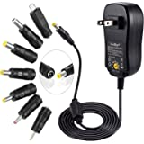 [Upgraded Version] SoulBay Universal AC/DC Adapter Multi-Voltage Regulated Switching Power Supply with 7 Selectable Adapter Plugs, for 3V to 12V Home Electronics and USB Charging Devices - 2Amps Max