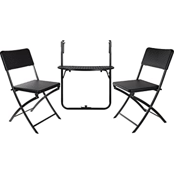 JTF Garden Balcony Bistro Set Rattan Effect Folding Table And Two Chairs    Indoor Or Outdoor