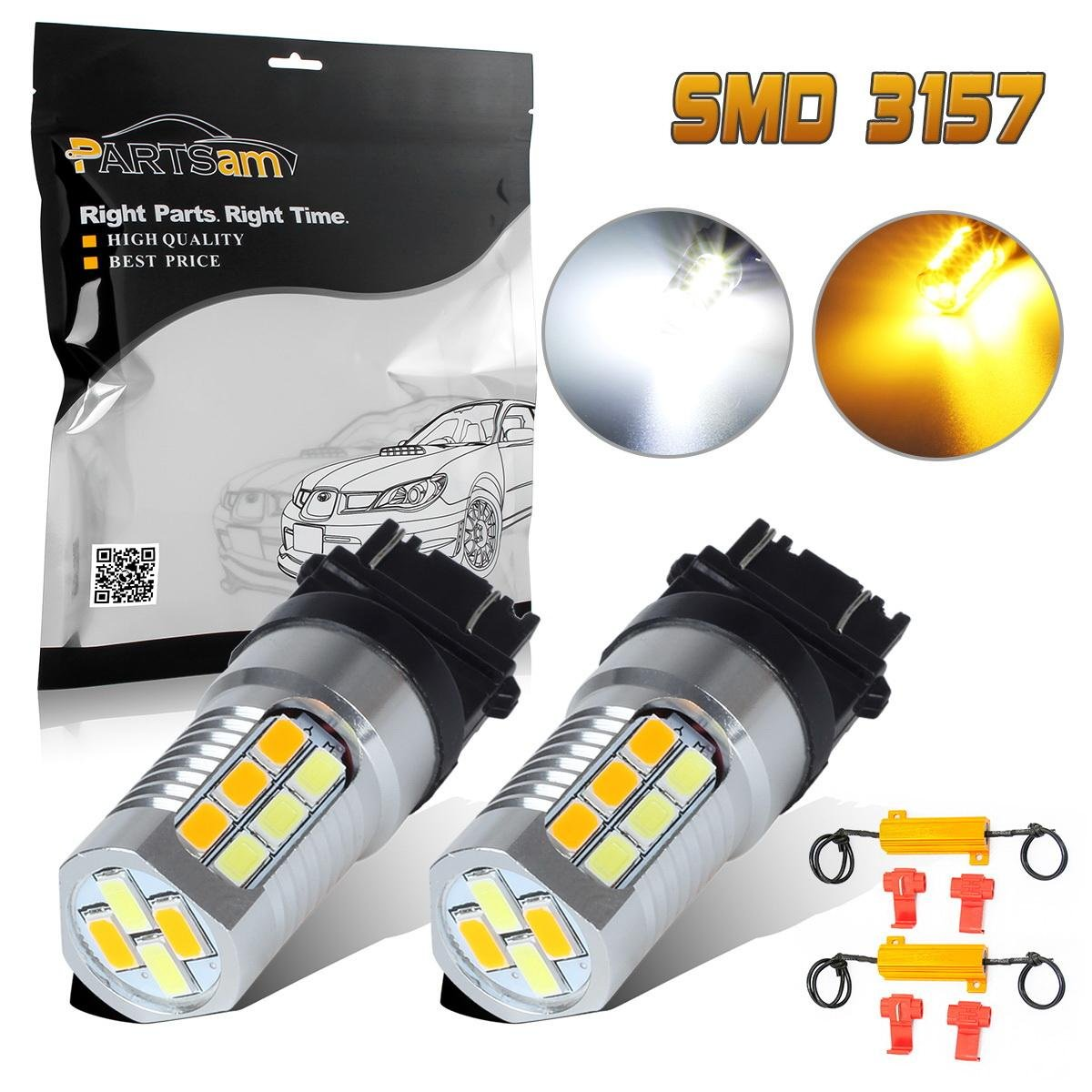 Partsam 2pcs 4157 3157 3156 3456 Switchback Dual Color Lights For 2001 Dodge Durango Trailer Wiring Diagram Code High Power Led Front Turn Signal Light Load Resistor Amber Yellow White Bulbs