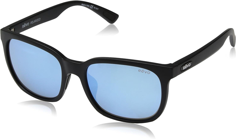 Revo RE 1050 Slater Polarized Wayfarer Sunglasses, Matte Black Blue Water, 55 mm