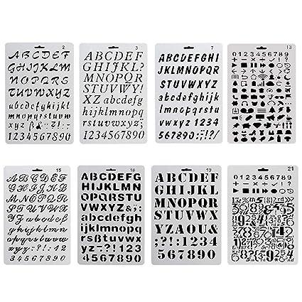 Plantilla para diario, 8 piezas, plantillas de dibujo mecánico de plástico para álbumes de