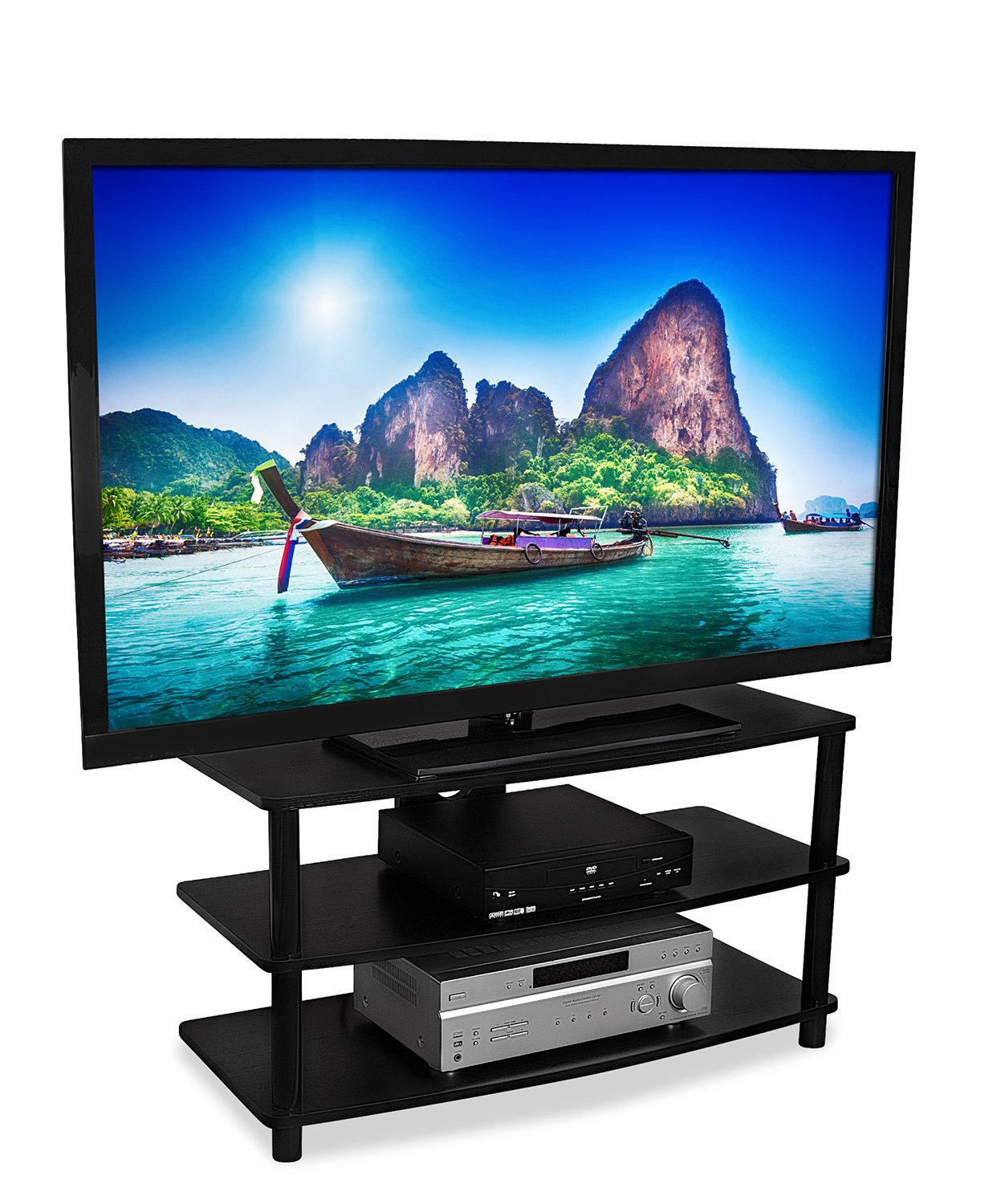 Mount-It! TV Stand Entertainment Center For 32 37 42 47 50 Inch Flat Screen Televisions, AV Component Console With Three Shelves, 88 Lbs Capacity, Black (MI-868L)