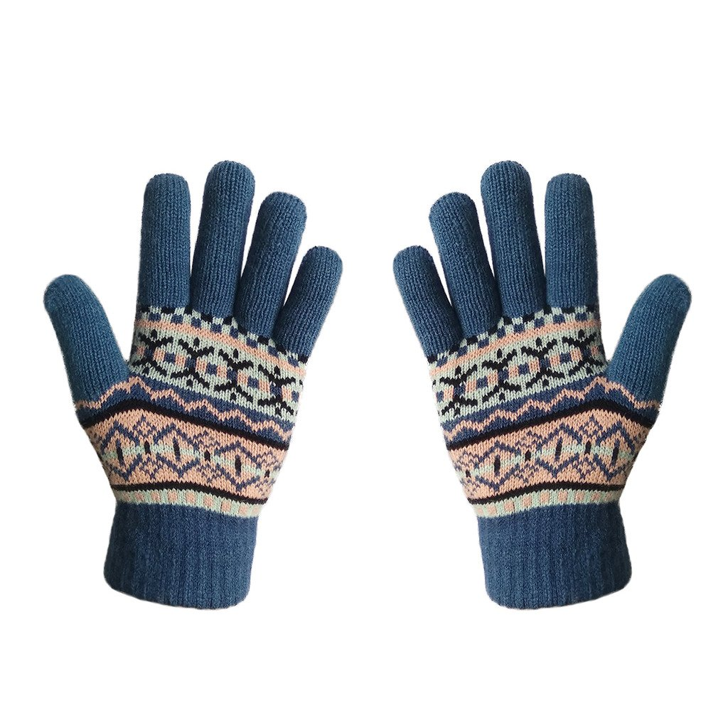 LETHMIK Womens&Girls Thick Knit Gloves Warm Winter Colorful Glove with Wool Lined Blue