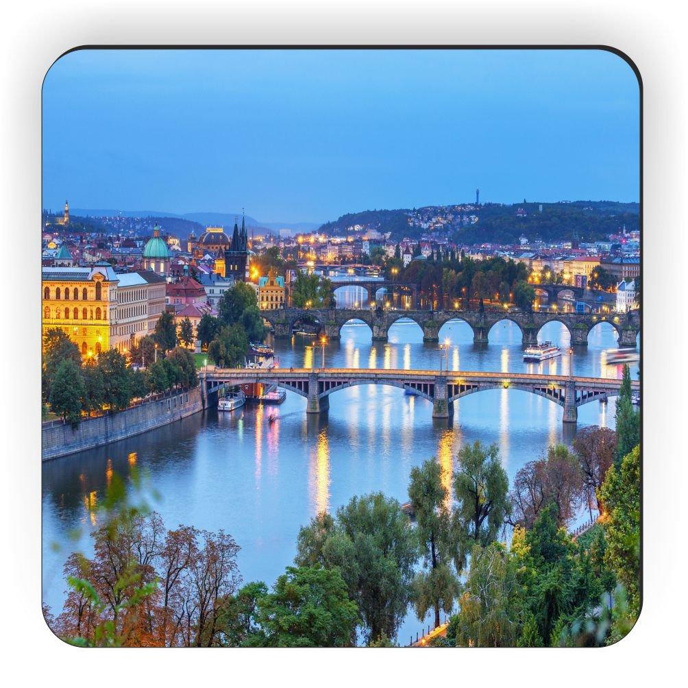 Rikki Knight View of Prague at Sunset Design Square Fridge Magnet