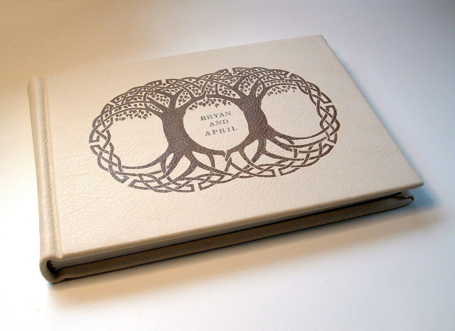 Personalized wedding album, guest register, guest book, photo album, hand-bound in soft deerskin, with original double Celtic Tree-of-Life artwork on cover.