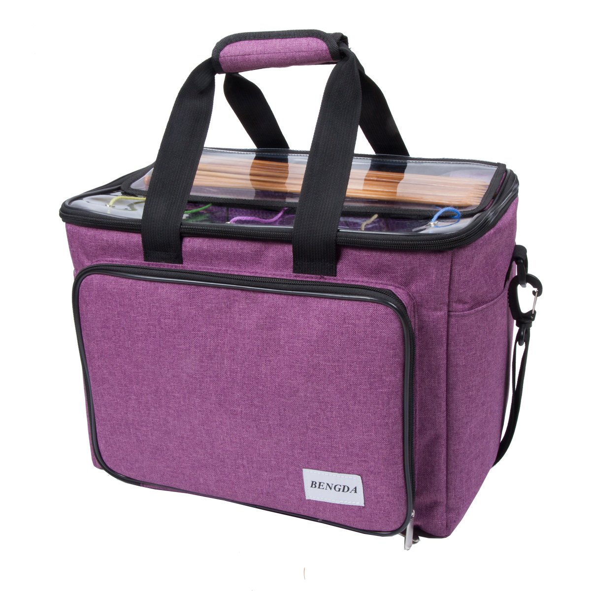 """BENGDA Knitting Bag,Premium Crochet Bags and Totes Organizer with Inner Divider for Crochet Hooks, Knitting Needles(up To 14""""), Project and Supplies,High Capacity (Stripe)"""