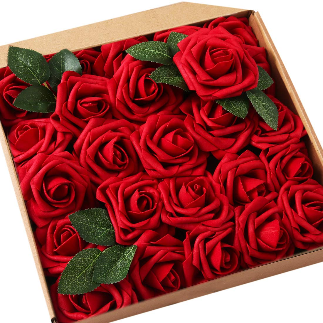 JaosWish 25PCS Real Touch Fake Roses Artificial Flowers Foam Roses DIY for Wedding Bouquets Home Decorations