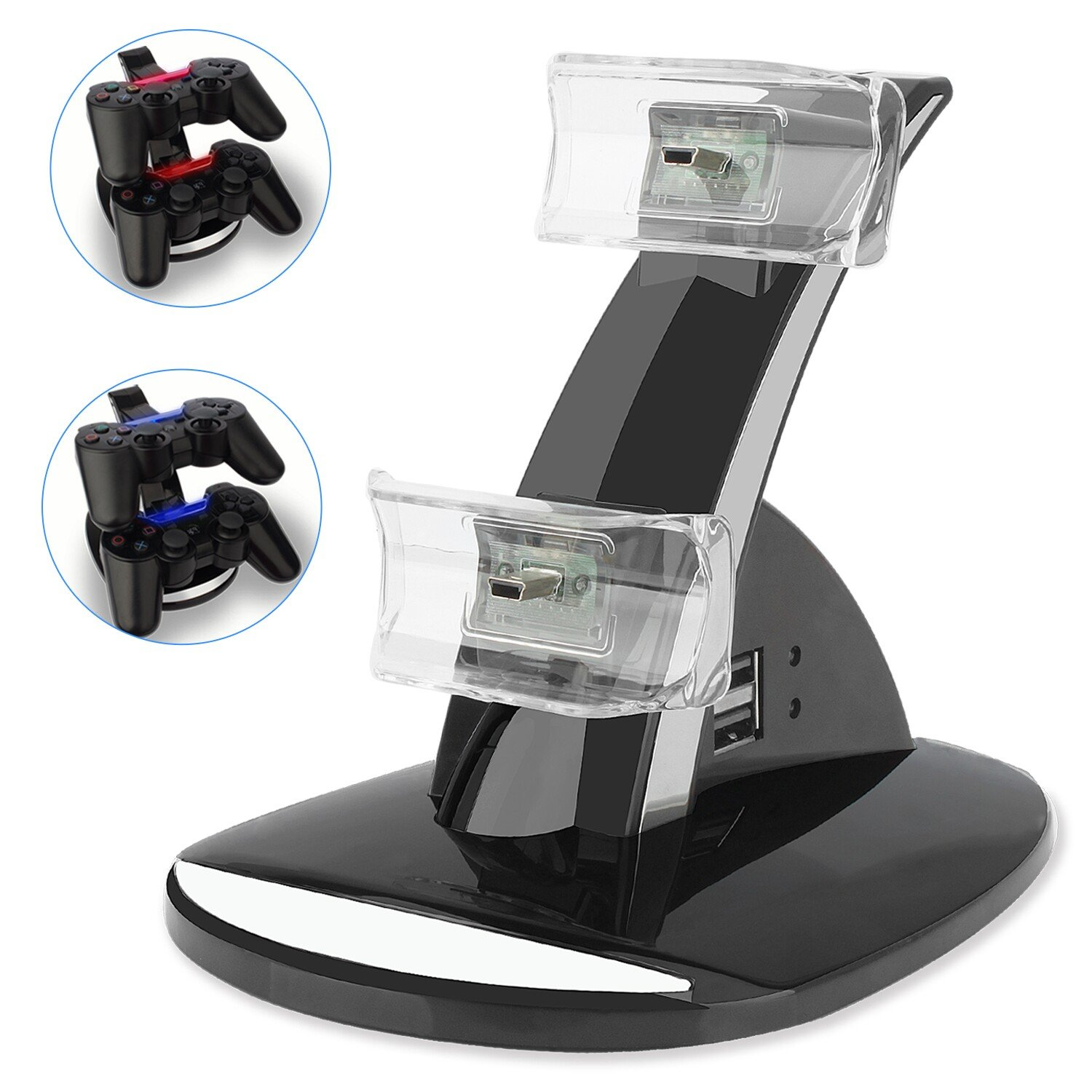 PS3 Playstation 3 Controller Charger, YCCTEAM® Dual Console Charger Charging Docking Station Stand for Playstation 3 PS3 with LED Indicators, Black